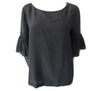 Club Monaco Black Silk Blouse Ruffled Sleeve L